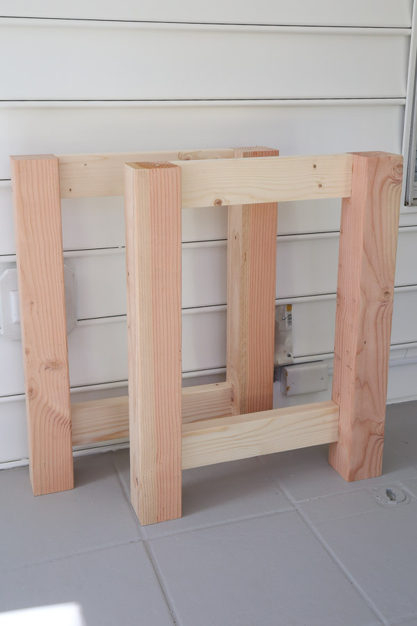 front view of two side frames of diy mobile workbench