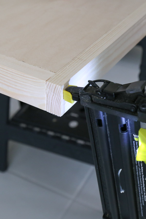 attach 1x2 trim ends together with brad nails