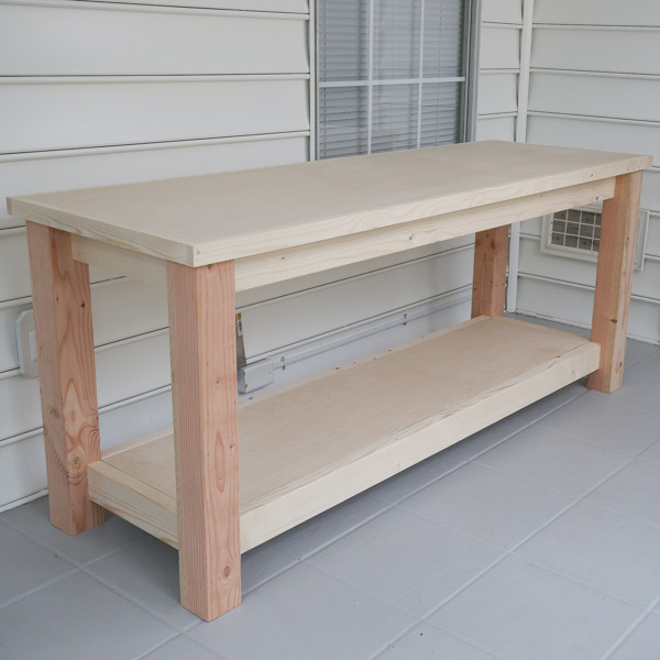 diy workbench built before adding wheels and finish