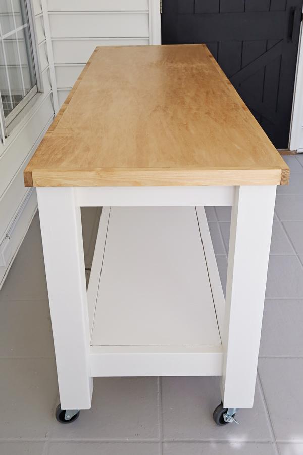 side view of DIY workbench on wheels