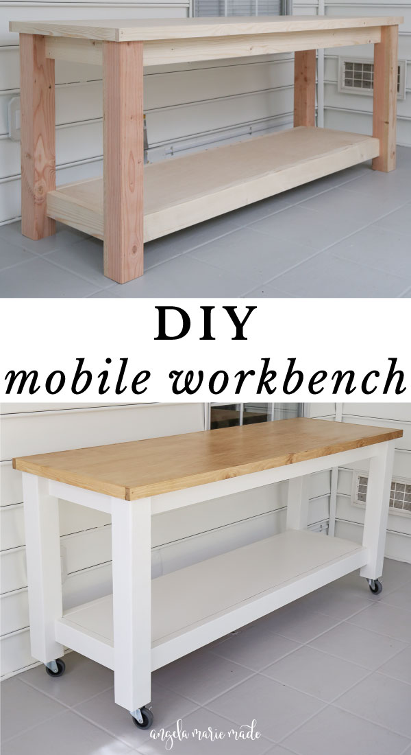 DIY workbench unfinished vs DIY mobile workbench finished with painted frame and stained wood top
