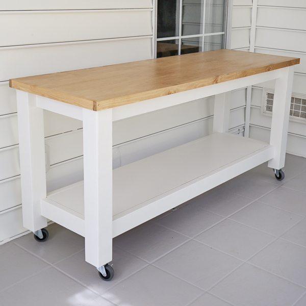 DIY mobile workbench side view