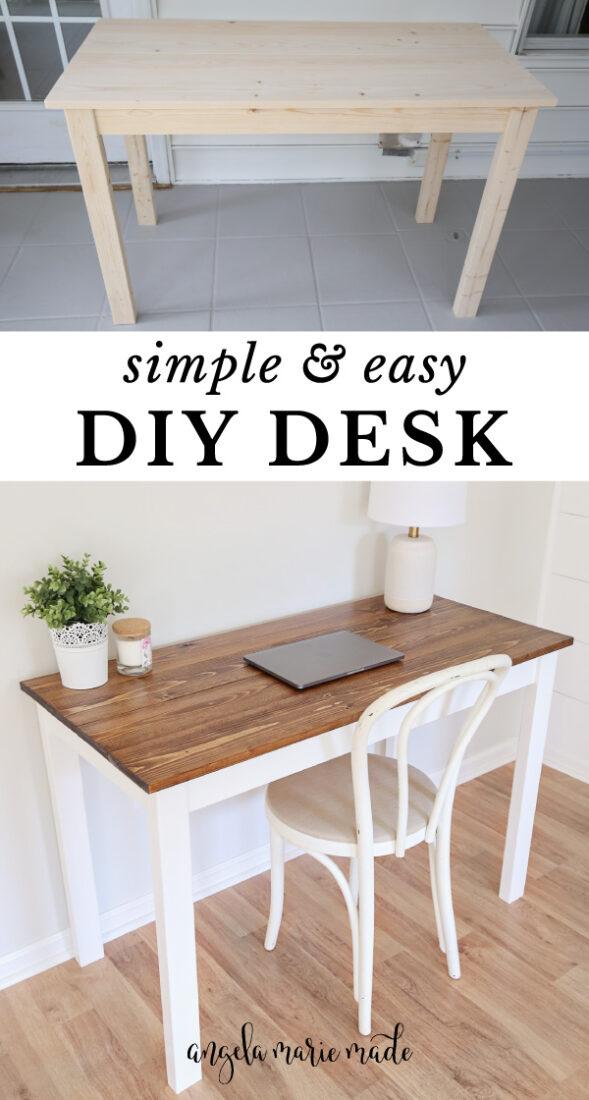 DIY desk unfinished and finished