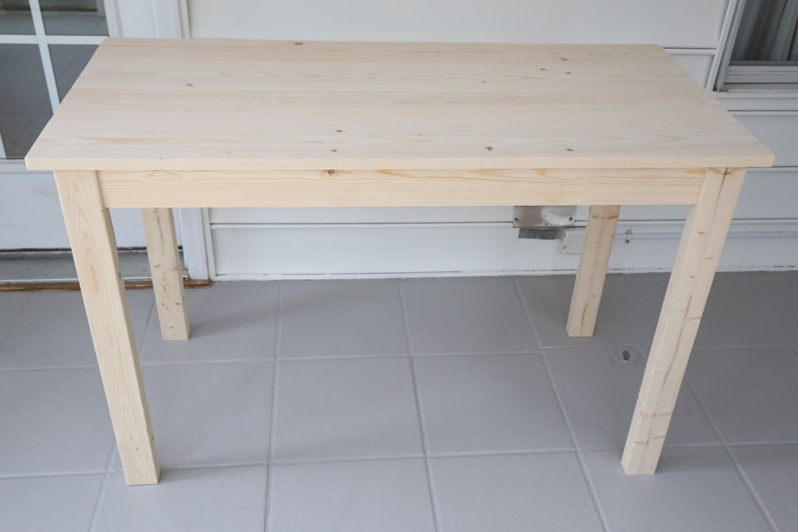 diy wood computer desk before staining and painting