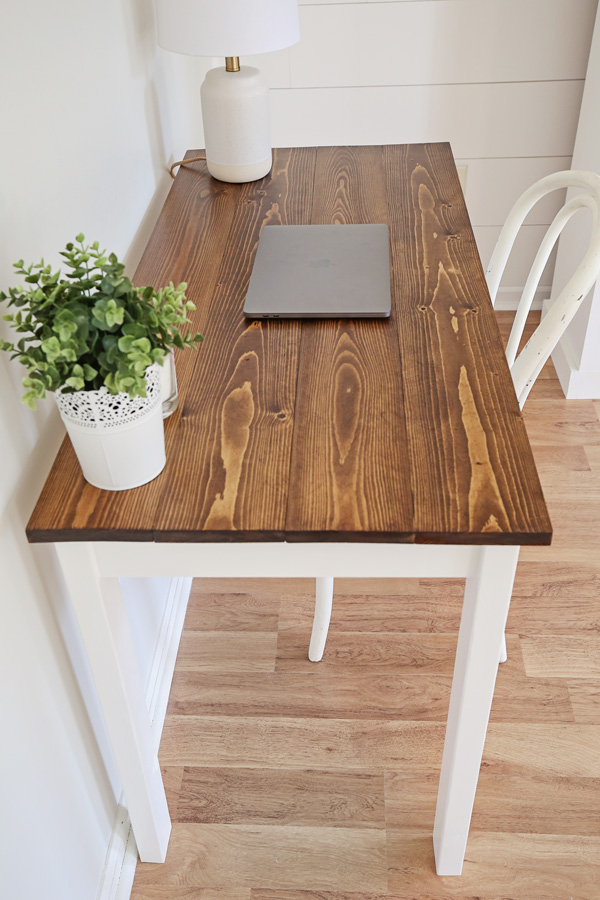 diy wood desk with stained top