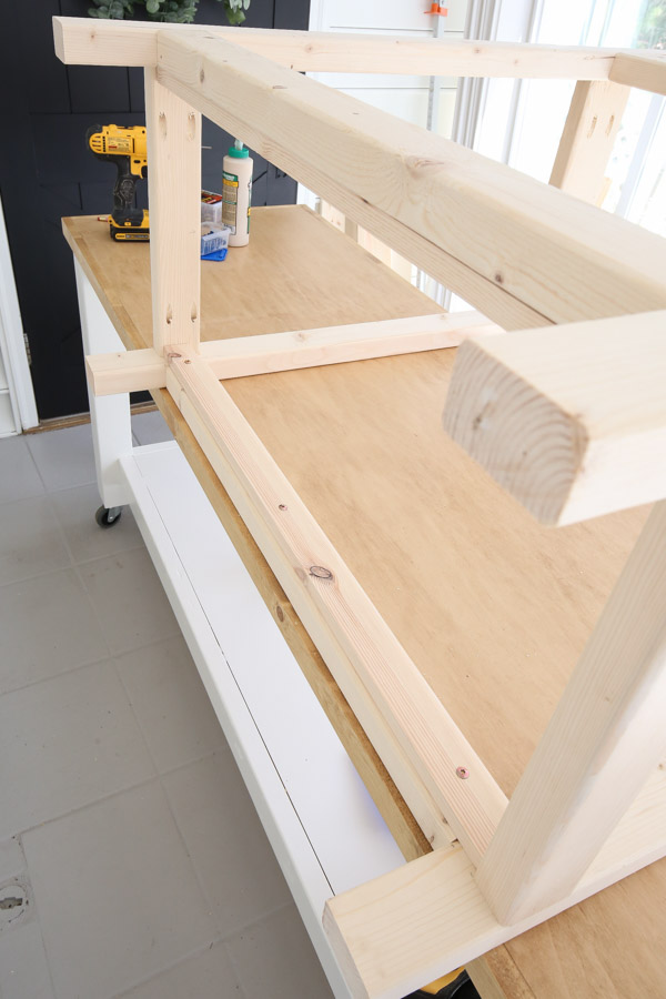 front frame of potting bench attached to sides
