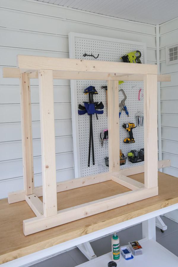 frame of potting bench on side