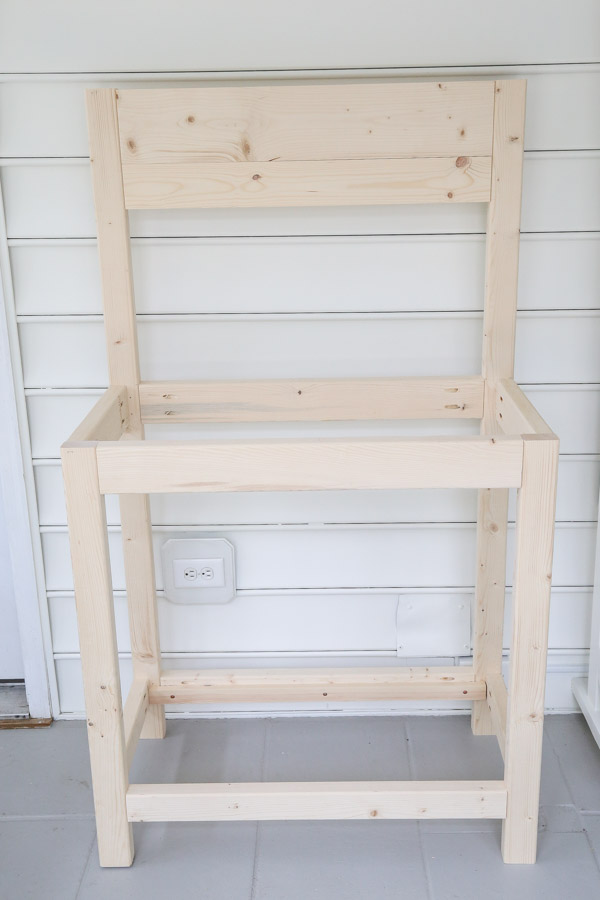 frame of DIY potting bench before adding middle and top shelf