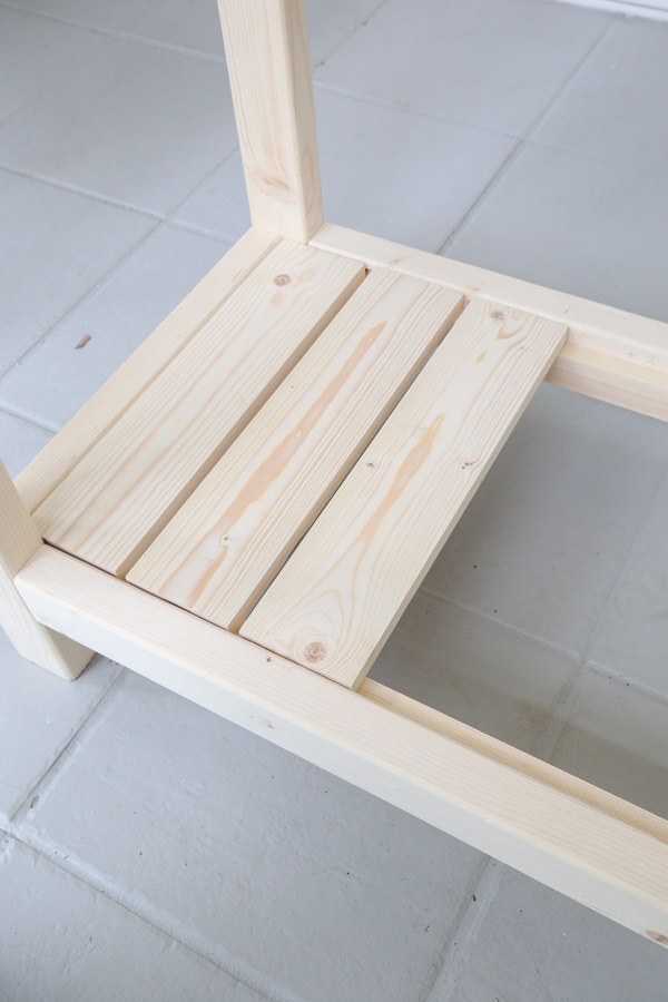 adding 1x4 slats to lower shelf
