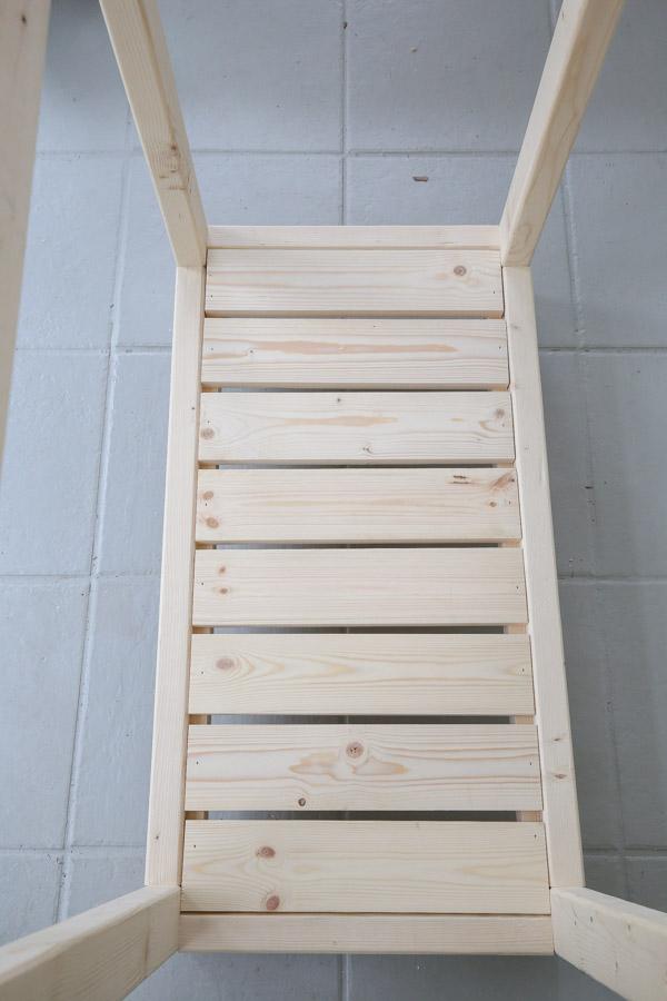 lower shelf of potting bench