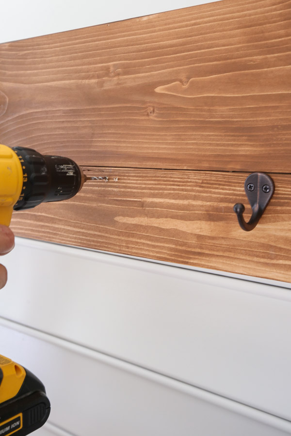 attaching hooks to potting bench