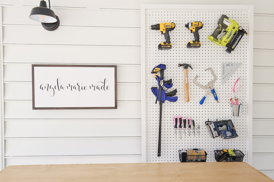 DIY tool pegboard in small workshop