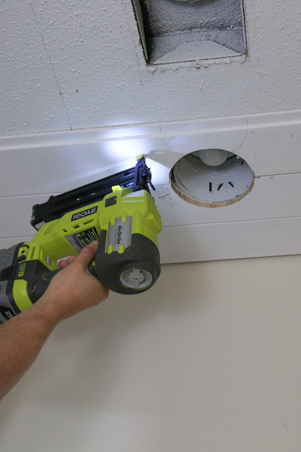 installing shiplap on ceiling with brad nailer