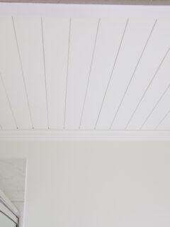 DIY shiplap bathroom ceiling