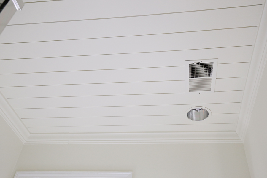 DIY shiplap ceiling