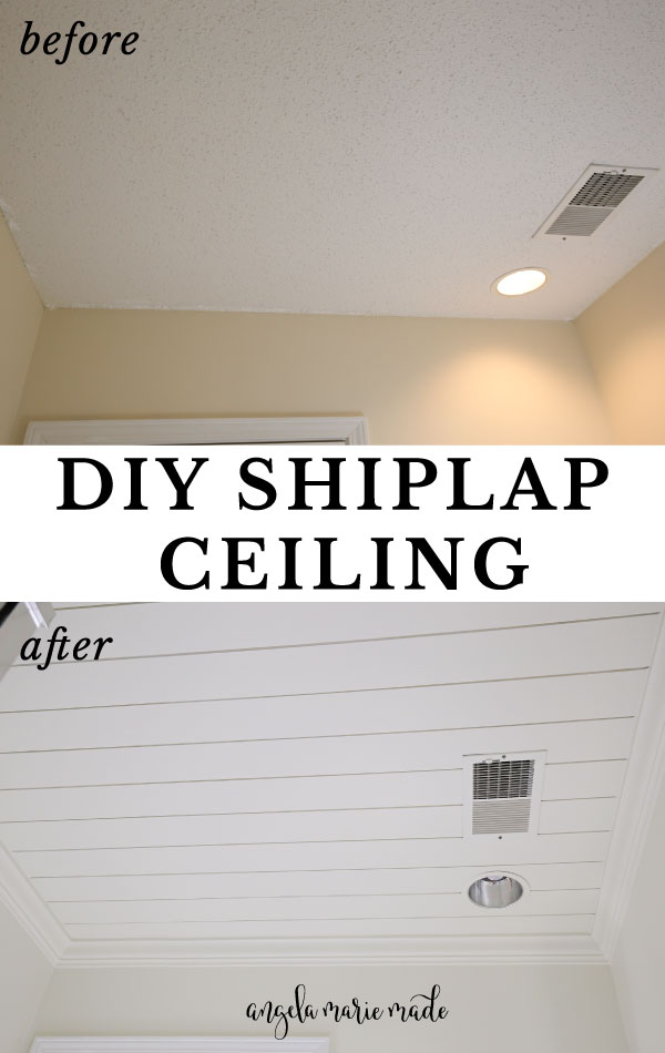 DIY shiplap ceiling before and after photos