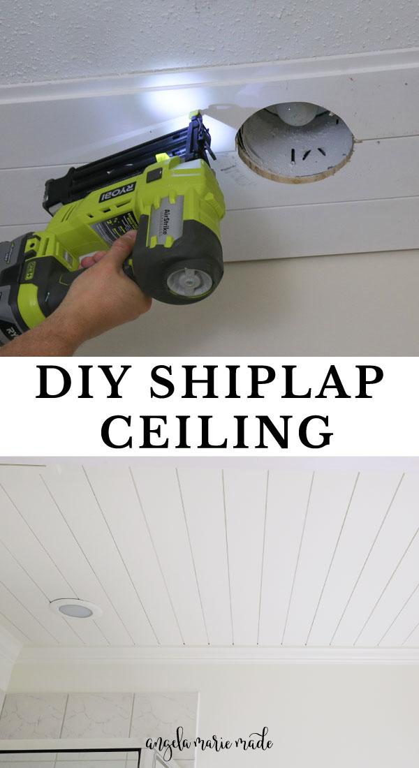 DIY shiplap ceiling installation