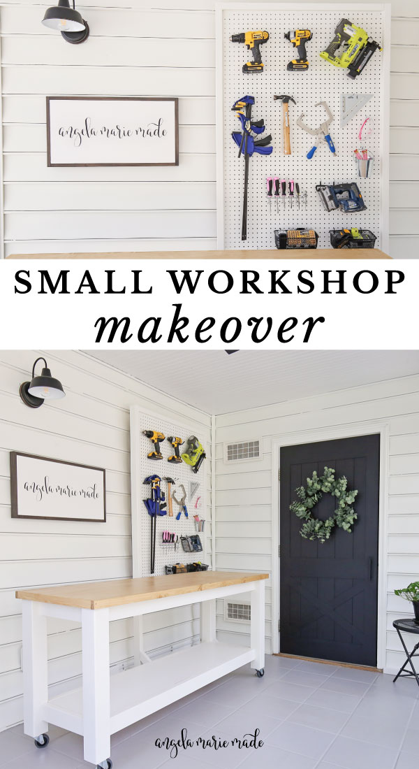 DIY workbench and DIY pegboard stand for tools in small workshop makeover