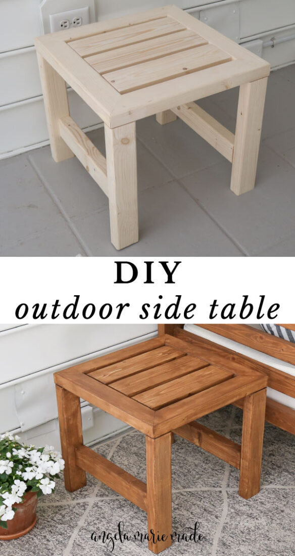 DIY outdoor side table before and after staining
