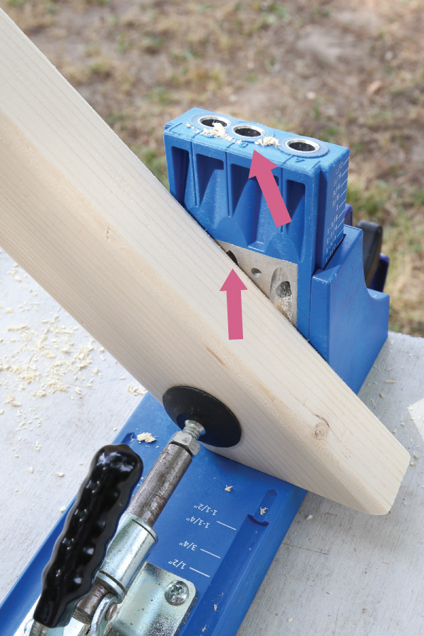 infographic with arrows showing hole B on Kreg Jig for drilling pocket hole on angled board