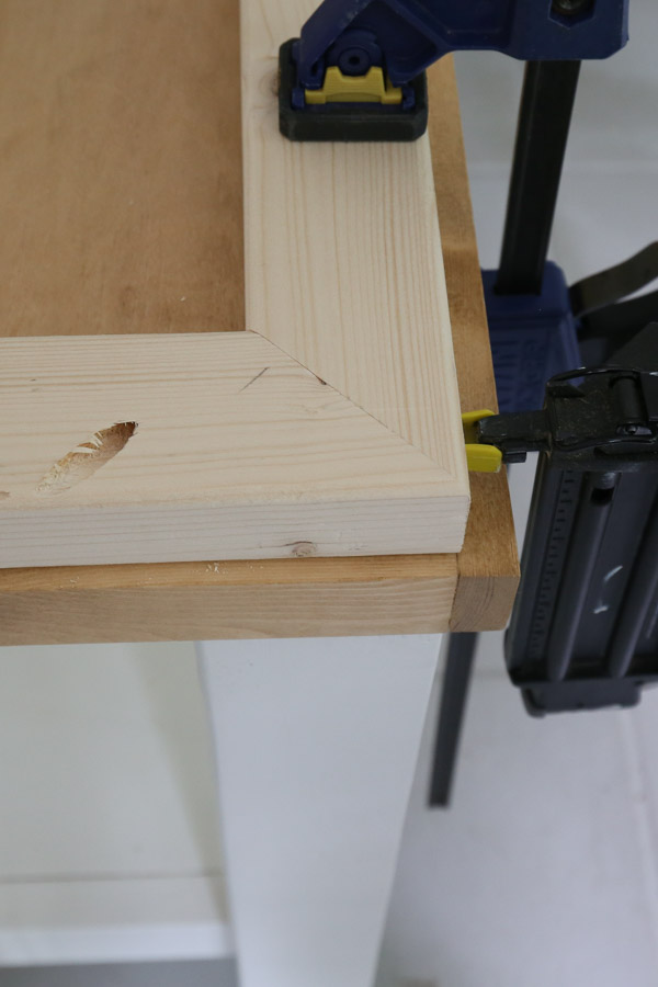 use a brad nailer to attach side table frame together