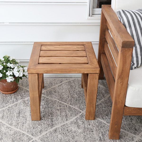 DIY outdoor side table front view