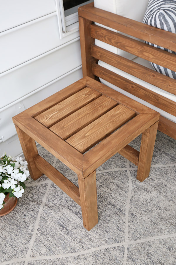 DIY outdoor side table top view