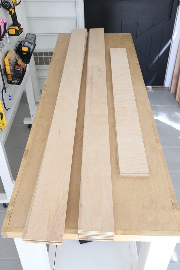 """plywood ripped into 4.5"""" wide strips"""