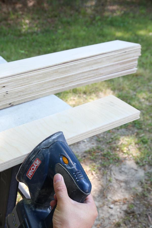 sand plywood edges with corner sander