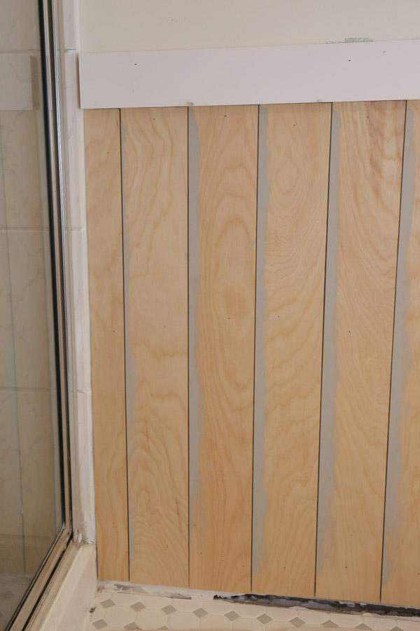vertical shiplap half wall