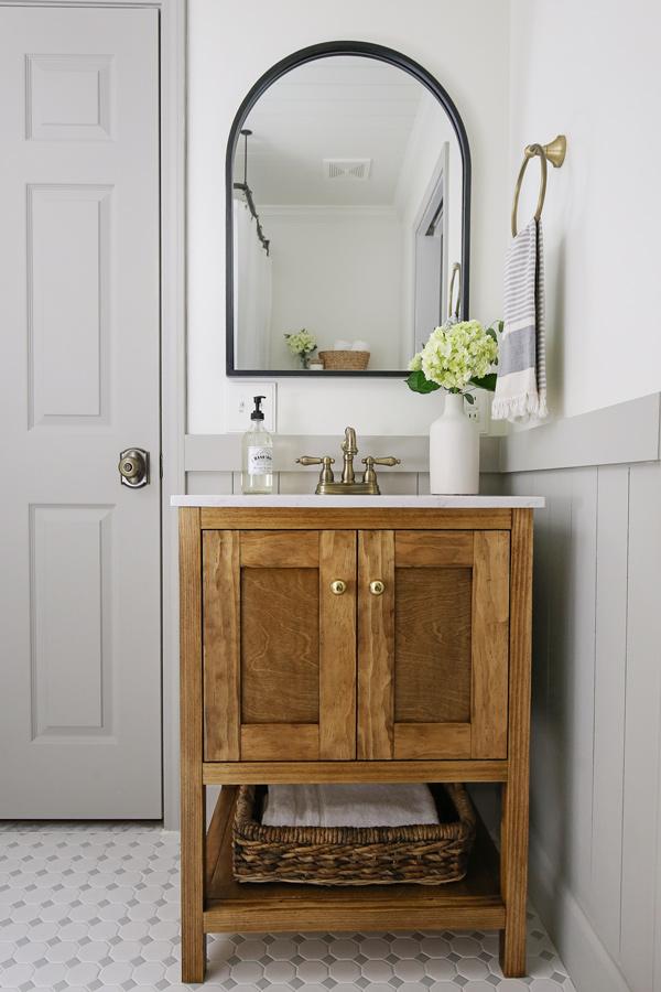 diy bathroom vanity with doors in bathroom makeover