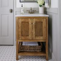 DIY bathroom vanity with doors