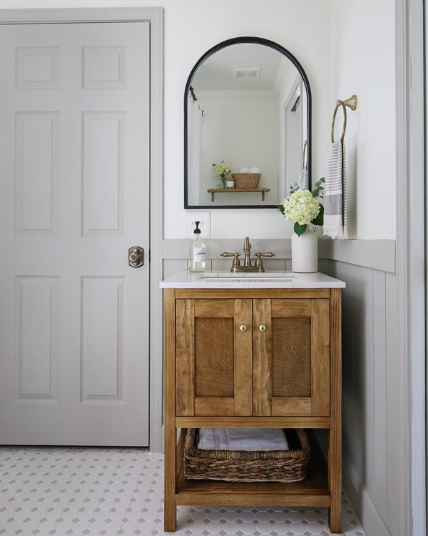 sink, mirror and door for bathroom makeover