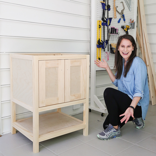 diy bathroom vanity with woman woodworker