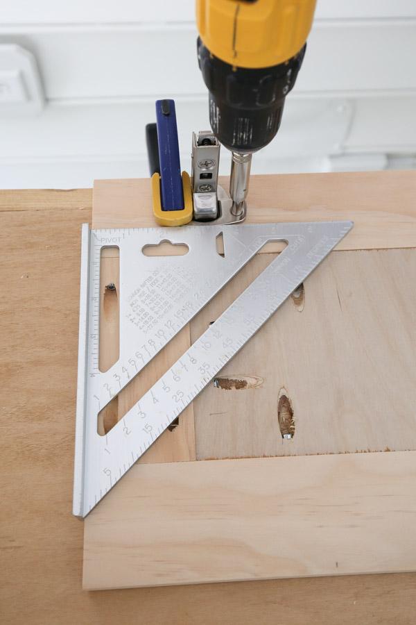 installing bathroom vanity door hinges with drill