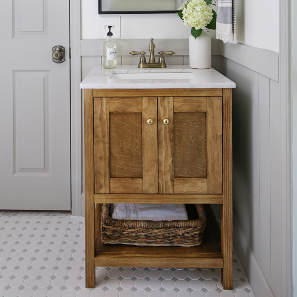 wood DIY bathroom vanity in small bathroom