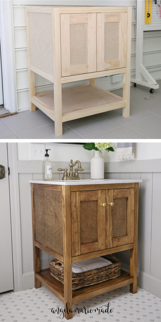 DIY bathroom vantity before stain and with stain, sink, & knobs