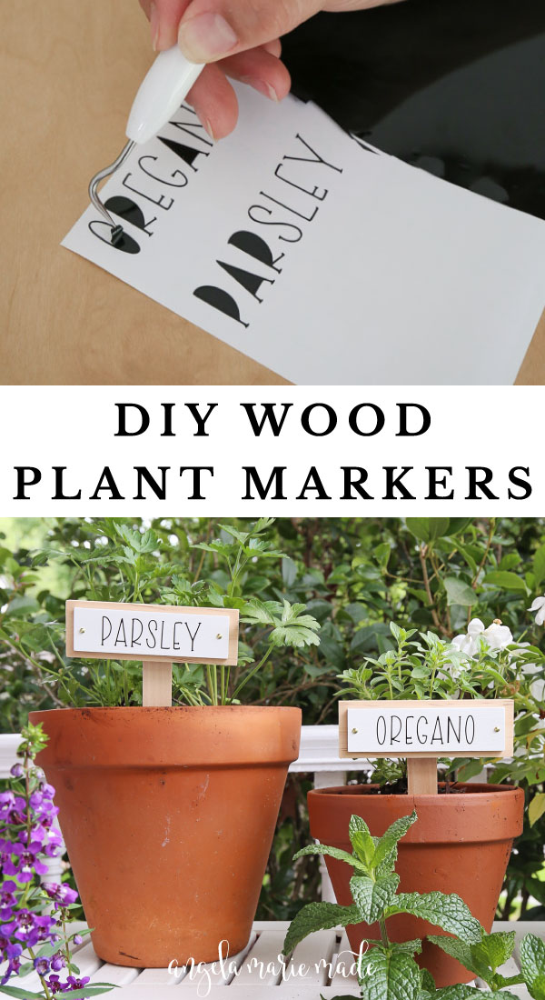 Wooden DIY plant markers with Cricut labels