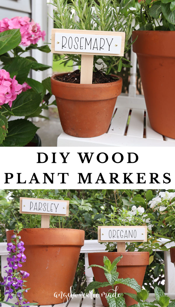Wooden DIY plant markers in herb pots