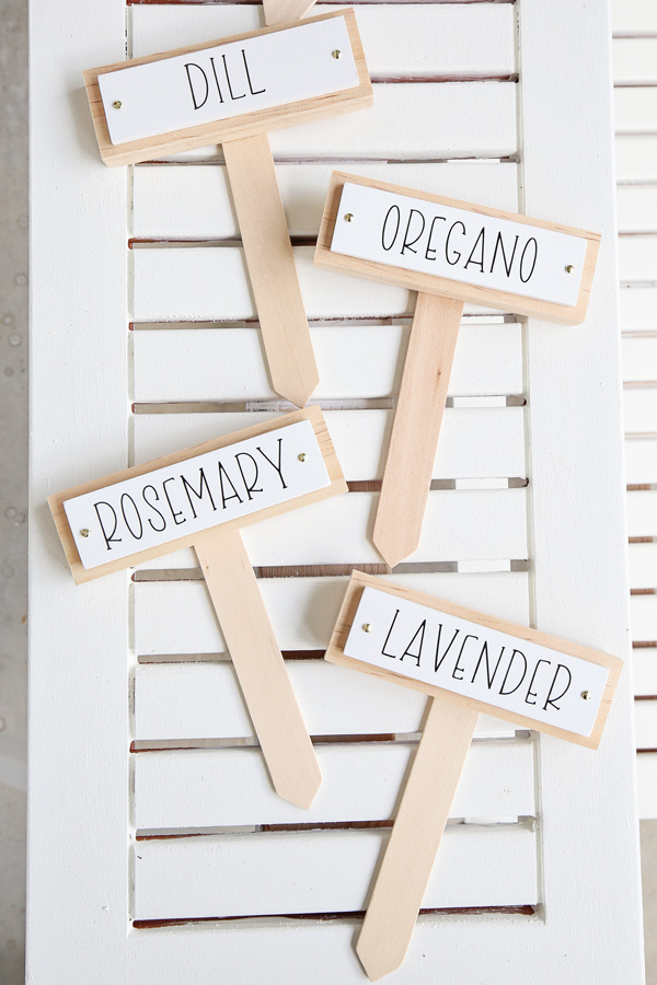wooden DIY garden markers with Cricut labels