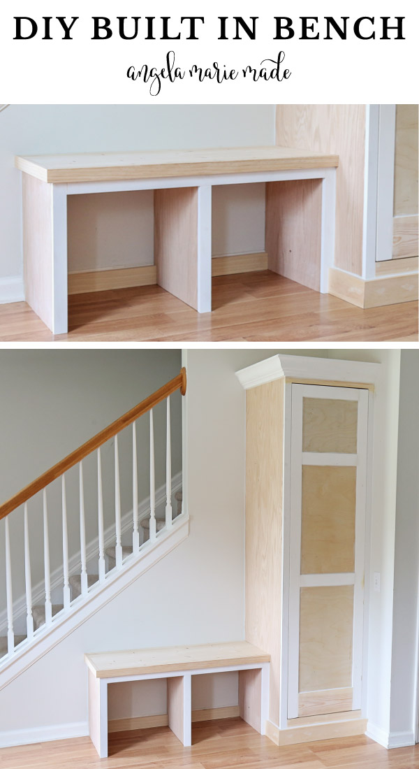 diy built in bench and diy built in cabinet in entryway before paint