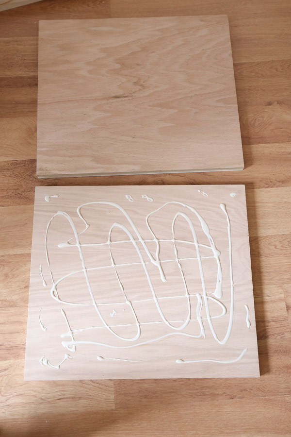 wood glue on plywood to create thicker bench side panel board