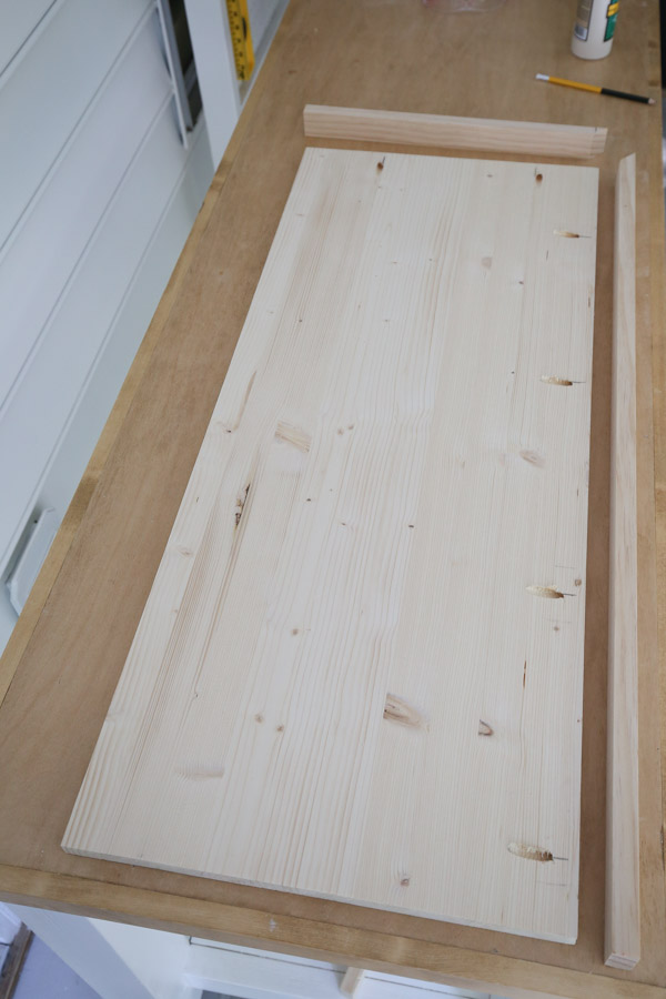 lumber for the bench top cut to size