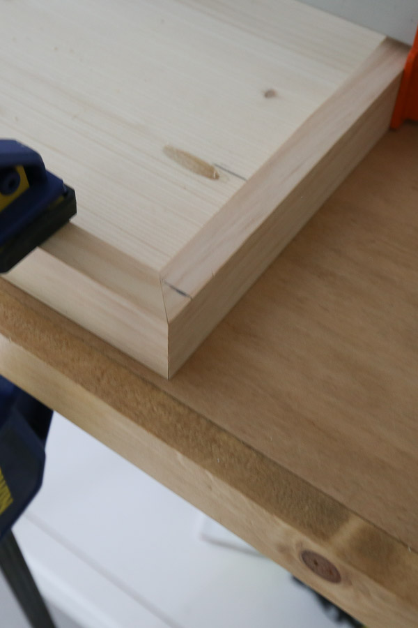 corner of bench top with angled 1x2 trim boards