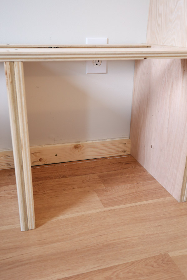 attaching bench frame to the wall studs