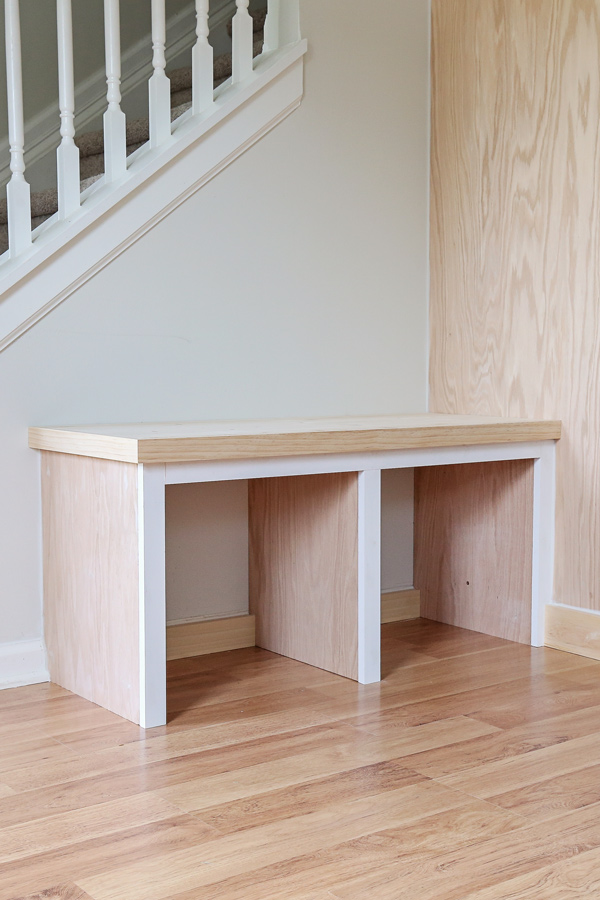diy built in bench unfinished