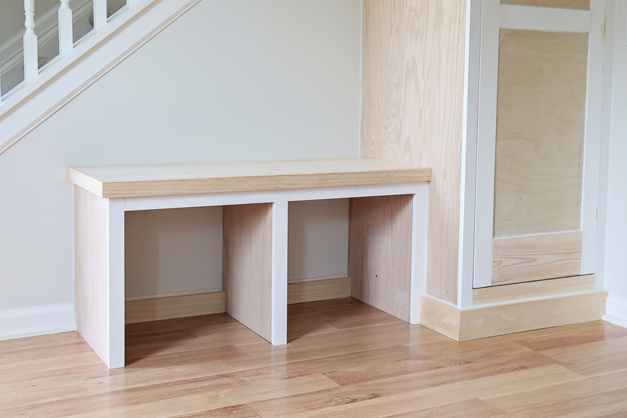 diy built in entryway bench and cabinet before paint