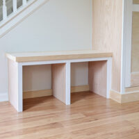 diy built in entryway bench before paint