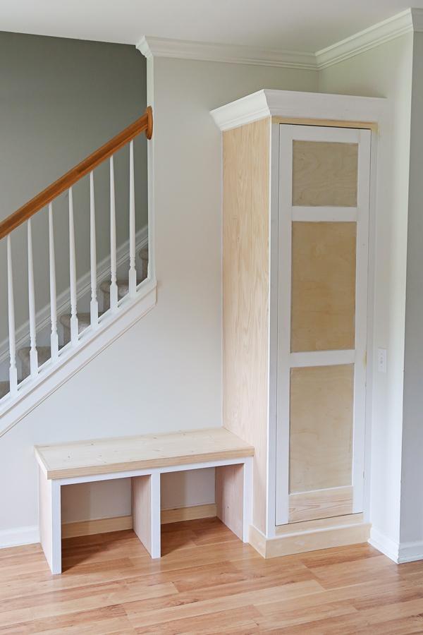 DIY entryway built in before paint