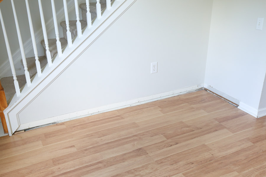 baseboard removed from the wall